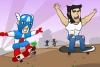 超级英雄玩滑板