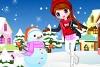 女孩堆雪人