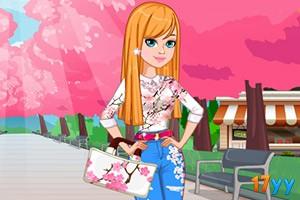 可爱樱花牛仔裤